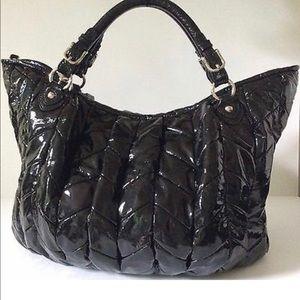 MIU MIU BLK Patent Leather Crossbody Satchel Bag L